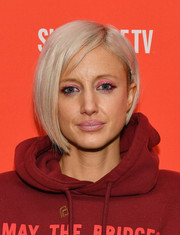 Andrea Riseborough looked stylish with her asymmetrical ash-blonde bob at the Sundance premiere of 'Mandy.'
