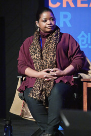 Octavia Spencer sat at the Power of Story panel during Sundance wearing a purple turtleneck with a ruffle hem.