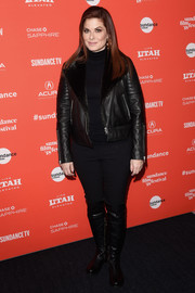 Debra Messing attended the Sundance premiere of 'Search' looking tough in a black leather bomber jacket.