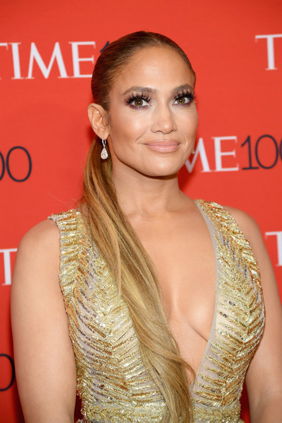 Jennifer Lopez styled her long tresses into a tight ponytail for the 2018 Time 100 Gala.