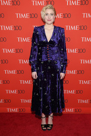 Greta Gerwig went for vintage glamour in a crystal-embellished purple velvet dress by Gucci at the 2018 Time 100 Gala.