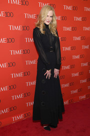 Nicole Kidman went for understated elegance in a long-sleeve, high-neck black gown by Proenza Schouler at the 2018 Time 100 Gala.
