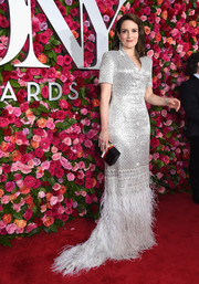 Tina Fey shimmered so glamorously in a Thom Browne sequin gown with an ostrich-feather hem at the 2018 Tony Awards.