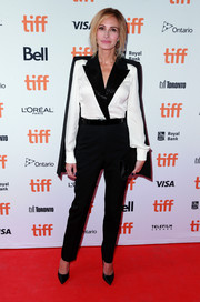 Julia Roberts rocked a caped black-and-white tux jumpsuit by Givenchy Couture at the TIFF premiere of 'Homecoming.'