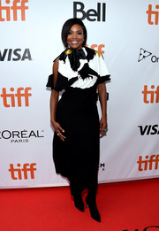 Gabrielle Union looked charming in a floral-bodice dress by Valentino at the TIFF premiere of 'The Public.'