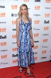 Carey Mulligan was summer-chic in a graphic halter dress by Chanel at the TIFF premiere of 'Wildlife.'