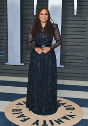 Ava DuVernay donned a beaded navy gown by Armani Prive for the 2018 Vanity Fair Oscar party.
