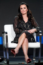 Kyle Richards attended the 2018 Winter TCA Tour wearing a cute pair of fur-adorned pumps.
