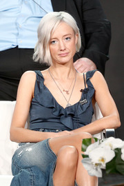 Andrea Riseborough kept it breezy in a sleeveless blue ruffle top and a denim skirt at the 2018 Winter TCA Tour.