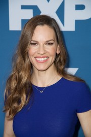 Hilary Swank stuck to her usual long wavy style when she attended the 2018 Winter TCA Tour.