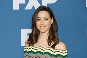 Aubrey Plaza looked pretty with her feathery waves at the 2018 Winter TCA Tour.
