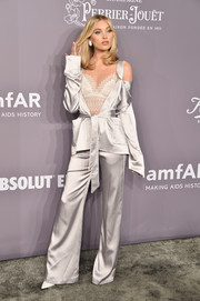 Elsa Hosk was boudoir-chic in a silver cold-shoulder satin suit by Jonathan Simkhai at the 2018 amfAR Gala New York.