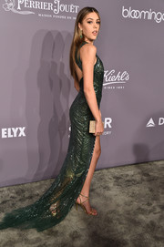Sistine Stallone slipped into an embellished green halter gown by Cristina Ottaviano for the 2018 amfAR Gala New York.