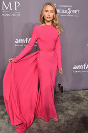 Sailor Brinkley Cook looked regal in a hot-pink Brandon Maxwell column dress with an attached train at the 2018 amfAR Gala New York.