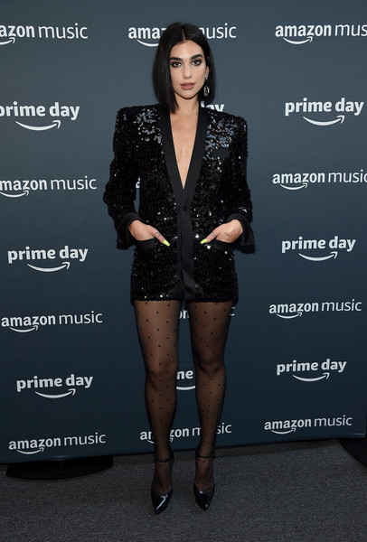 More Pics of Dua Lipa Tights (1 of 18) - Dua Lipa Lookbook - StyleBistro [amazon,dua lipa,clothing,fashion,footwear,suit,outerwear,leg,fashion model,dress,jacket,shorts,concert,amazon prime day concert,new york city]