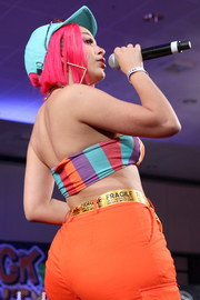 Doja Cat wore a 'Fragile Handle with Care' belt from Petals and Peacocks at the BET Her Presents Fashion & Beauty event.