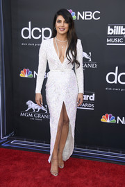 Priyanka Chopra glammed up in a beaded white dress by Zuhair Murad Couture for the 2019 Billboard Music Awards.