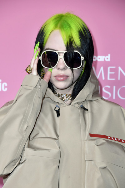 Billie Eilish accessorized with a huge gold ring at the 2019 Billboard Women in Music.