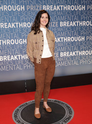 Lana Del Rey kept it casual in a houndstooth bomber jacket at the 2019 Breakthrough Prize.