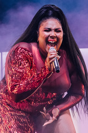 Lizzo styled her hair into a high ponytail for her Coachella performance.