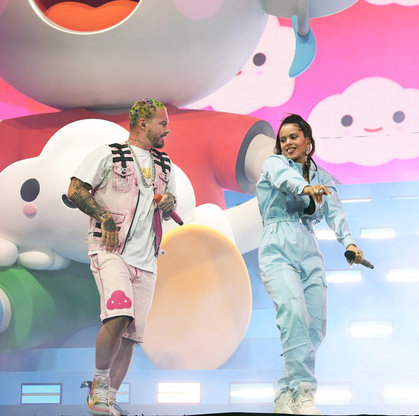 More Pics of Rosalía Jumpsuit (3 of 10) - Suits Lookbook - StyleBistro [performance,pink,stage,illustration,talent show,event,world,performing arts,j balvin,rosal\u00e3a,coachella stage,indio,california,coachella valley music and arts festival]