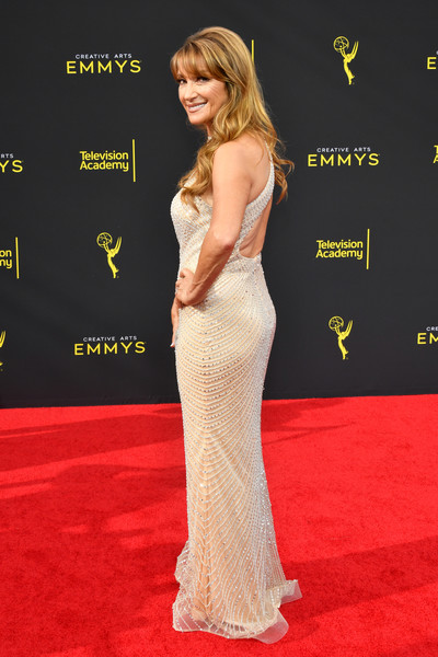 More Pics of Jane Seymour Metallic Clutch (3 of 4) - Clutches Lookbook - StyleBistro [red carpet,carpet,clothing,dress,premiere,flooring,shoulder,gown,hairstyle,fashion,arrivals,jane seymour,creative arts emmy awards,los angeles,california]