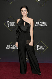 Lucy Hale punctuated her black look with a beaded clutch by Judith Leiber.
