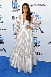 Regina Hall was a knockout in a a white striped gown by Lela Rose at the 2019 Film Independent Spirit Awards.