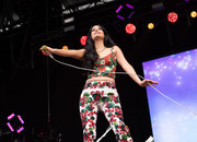 Kacey Musgraves looked summery in a floral crop-top and matching pants at the 2019 Governors Ball Festival.