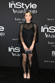 Kaley Cuoco was boho-glam in a black lace gown by Dior at the 2019 InStyle Awards.