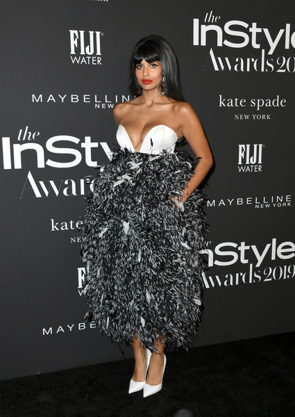 Jameela Jamil went for flirty glamour in a strapless feathered dress by Prabal Gurung at the 2019 InStyle Awards.