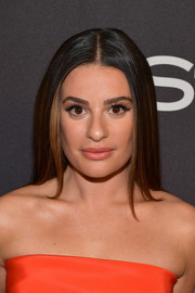 Lea Michele wore her hair in a sleek straight cut at the InStyle and Warner Bros. Golden Globes after-party.