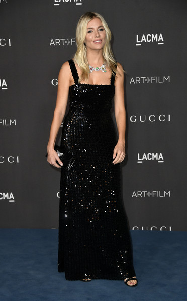 More Pics of Sienna Miller Sequin Dress (4 of 12) - Dresses & Skirts Lookbook - StyleBistro [dress,clothing,shoulder,fashion model,gown,carpet,hairstyle,blond,fashion,premiere,arrivals,sienna miller,los angeles,california,gucci,lacma art film gala,lacma 2019 art film gala]