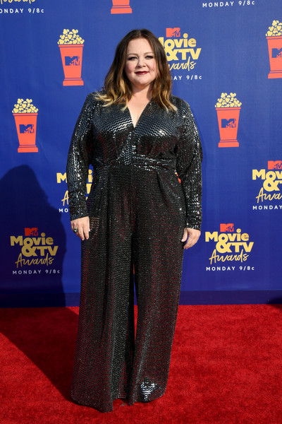 Melissa McCarthy looked party-ready in a sequined jumpsuit by Talbot Runhof at the 2019 MTV Movie and TV Awards.