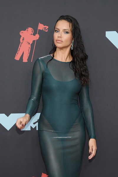 More Pics of Adriana Lima Sheer Dress (1 of 6) - Dresses & Skirts Lookbook - StyleBistro [clothing,dress,cocktail dress,fashion,carpet,spandex,footwear,see-through clothing,long hair,textile,arrivals,adriana lima,mtv video music awards,prudential center,newark,new jersey]