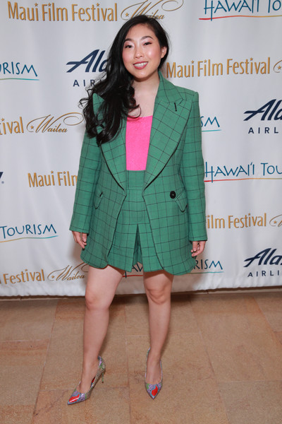 Awkwafina kept it vibrant all the way down to her printed pumps.