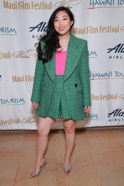 Awkwafina was bold with her colors at the 2019 Maui Film Festival, pairing a green grid-patterned short suit with a hot-pink top.