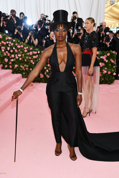 Danai Gurira flaunted major cleavage in a black halter jumpsuit by Gabriela Hearst at the 2019 Met Gala.