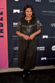 Mindy Kaling sparkled in a beaded gunmetal dress at the 2019 Sundance Film Festival - An Artist at the Table dinner.