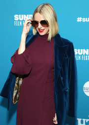 Naomi Watts layered a blue velvet blazer over a burgundy dress for the Sundance Film Festival premiere of 'Luce.'