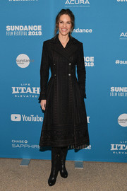Hilary Swank was winter-chic in a patterned trenchcoat by Paolo Sebastian at the Sundance Film Festival premiere of 'I Am Mother.'