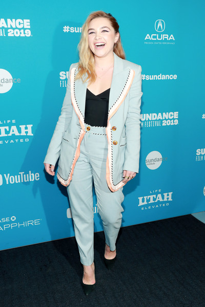 More Pics of Florence Pugh Pumps (3 of 8) - Heels Lookbook - StyleBistro [surprise screening of ``fighting with my family,clothing,fashion,outerwear,pantsuit,suit,premiere,carpet,electric blue,flooring,long hair,florence pugh,utah,park city,the ray,sundance film festival]