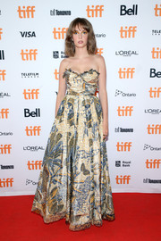 Maya Hawke got glam in a strapless print gown by Dior for the TIFF premiere of 'Human Capital.'