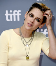 Kristen Stewart showed off a tattoo on her wrist consisting of four lines at the 'Seberg' press conference during the 2019 Toronto International Film Festival.