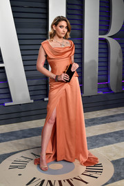 Paris Jackson channeled Old Hollywood with this draped coral gown by Vivienne Westwood at the 2019 Vanity Fair Oscar party.