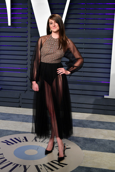 Shailene Woodley flashed some skin in a sheer black Dior dress with a contrast bodice at the 2019 Vanity Fair Oscar party.