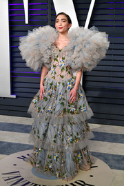 Rowan Blanchard got majorly frothy in a beaded Rodarte gown with statement sleeves at the 2019 Vanity Fair Oscar party.