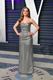 Marina de Tavira was all aglow in a strapless silver gown by Ferragamo at the 2019 Vanity Fair Oscar party.