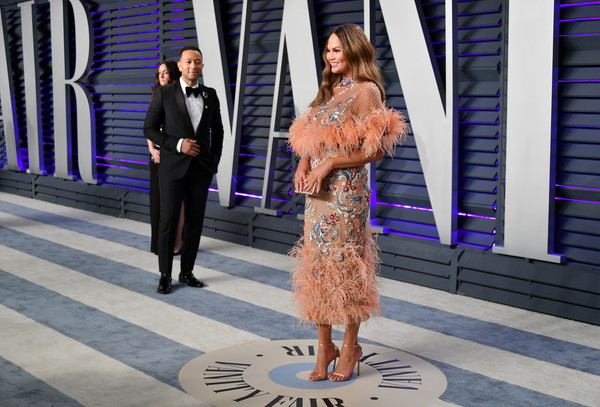 More Pics of Chrissy Teigen Embroidered Dress (2 of 14) - Dresses & Skirts Lookbook - StyleBistro [oscar party,vanity fair,fashion,snapshot,dress,street fashion,haute couture,formal wear,event,photography,fashion design,style,beverly hills,california,wallis annenberg center for the performing arts,radhika jones - arrivals,radhika jones,chrissy teigen]