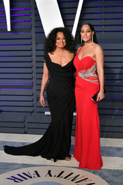 Diana Ross looked ageless in a draped black fishtail gown at the 2019 Vanity Fair Oscar party.